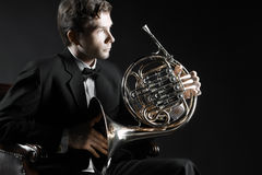 French horn classical musician Royalty Free Stock Photography