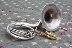 French horn and saxophone. Wind instruments after parade Royalty Free Stock Photos