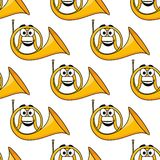 French horn seamless pattern Stock Images