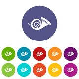 French horn set icons Royalty Free Stock Photos