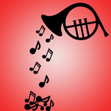 French horn silhouette with notes. Falling out, space available for text royalty free illustration