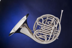 French Horn Silver Isolated On Blue Stock Image