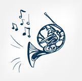 French horn sketch line  design music instrument royalty free illustration