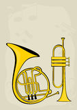 French horn, trumpet and notes. Vector image of the French horn and trumpet Stock Images