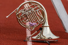 French Horn waiting its turn to perform. A French Horn waiting its turn to perform Royalty Free Stock Images