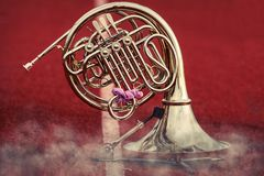 French Horn waiting its turn to perform in the performance Royalty Free Stock Photos