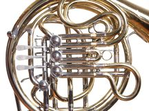 French horn on white. Royalty Free Stock Image