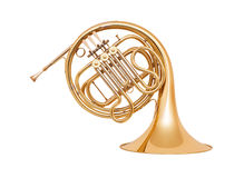 French horn  on white background Stock Photos