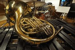 A french horn on xilophone. A french horn on the xilophone Stock Photography