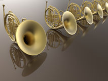 French horns orchestra. 3D render illustration of a french horns orchestra. Multiple musical instruments are arranged in a line on a reflective background Stock Photo