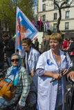 French Hospital Protest. Paris, France, French Hospital Personal Protest with Collectif Notre Santé en Danger,  Health and Social Issues , 14/04/2012, Place Stock Photo