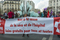 French Hospital Protest. Paris, France, French Hospital Personal Protest, Extreme Left Political party, N.P.A. Holding Banner,  Health and Social Issues , 14/04/ Stock Images