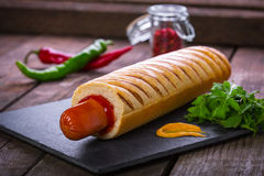 French hot dog grill Royalty Free Stock Image