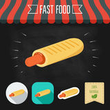 French Hot Dog icon on a chalkboard. Set of icons and eco label. Flat design. Vector Stock Photography