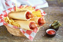 French hot dog with ketchup, mustard, mayonnaise and marinated cucumber. Stock Photography