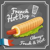 French Hot Dog Poster. French hot dog retro fast food restaurant fast food promo poster vector illustration Stock Images