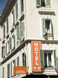 French hotel Nice France large windows Stock Photo