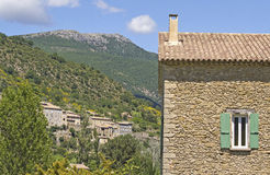 French house, with hillside town. Provence. Stock Image