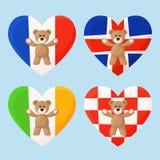 French, Icelandic, Irish and Croatian Teddy Bears Royalty Free Stock Photos