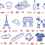 French icon symbol seamless pattern. Blue red Stock Photography