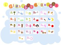 French illustrated alphabet / Lalphabet francais Stock Photos