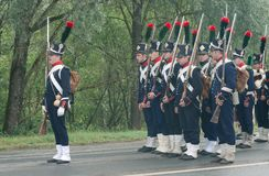 French infantry on the march Stock Photo