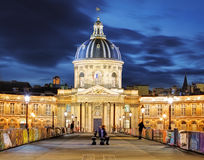 French Institute (Institute de France) at night, Paris Royalty Free Stock Image