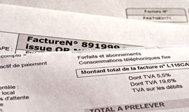 French invoices. Close up on french anonymous invoices Stock Images