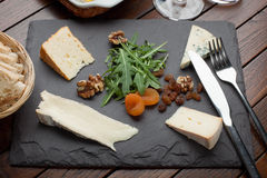 French & Irish Cheese Platter Royalty Free Stock Photography
