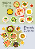 French and italian cuisine dinner icon set Royalty Free Stock Photos