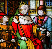 French King on a Throne - Stained Glass Royalty Free Stock Photo