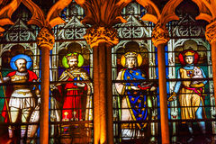French Kings Stained Glass Saint Severin Church Paris France Royalty Free Stock Photography
