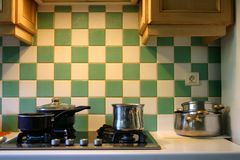 French kitchen. With integrated appliances royalty free stock photo