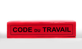 French labor code book on white background, labor code law reform in France concept Stock Photos