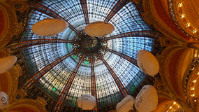 The French Lafayette in Paris. France Paris Lafayette glass dome is a very ornamental art Stock Image