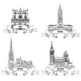 French landmarks. City labels Bordeaux, Toulouse, Lyon, Marseille. famous buildings of France Stock Photo