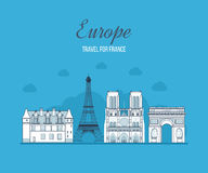 French Landmarks.. Eiffel tower, Notre Dame in stock illustration