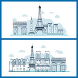 French Landmarks.. Eiffel tower, Notre Dame in Paris, France royalty free illustration