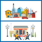 French Landmarks.. Eiffel tower, Notre Dame in Paris, France stock illustration