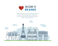 French Landmarks.. Eiffel tower, Notre Dame in Royalty Free Stock Photos