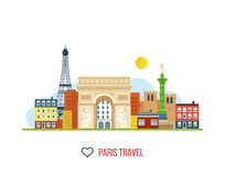 French Landmarks.. Eiffel tower, Notre Dame Royalty Free Stock Photos