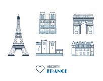 French Landmarks.. Eiffel tower, Notre Dame in royalty free illustration