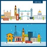 French Landmarks. Travel to Europe. London and Paris city. Stock Photos
