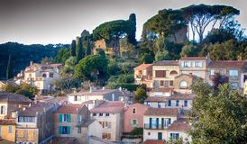 A French landscape with buildings surrounded by trees stock photo