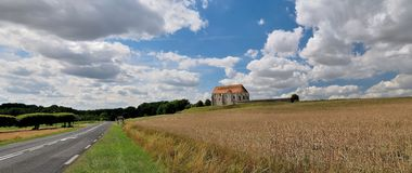 The French landscape with rural church. Royalty Free Stock Photography