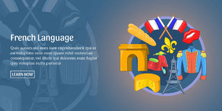 French language banner horizontal, cartoon style Stock Photography
