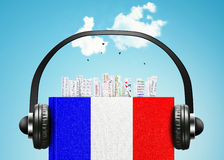 French language. The book with the French flag and bookmarks Stock Image