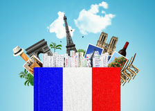 French language. The book with the French flag and bookmarks Royalty Free Stock Images