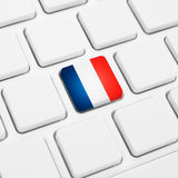 French language or France web concept. National flag button  Royalty Free Stock Photo