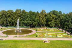 French large fountain in Peterhof. View from the terrace of the Grand Palace to the French large fountain in the Central Part of The Lower Park in the Peterhof Stock Image